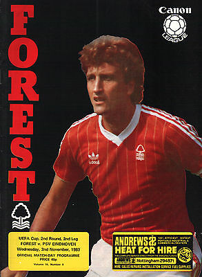 1983/84 Nottingham Forest v PSV Eindhoven, UEFA Cup, PERFECT CONDITION