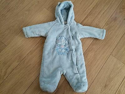 BHS SOFT BABY BOY PADDED SOWSUIT- ALL IN ONE,with ears   0-3 mths UPTO 14LBS