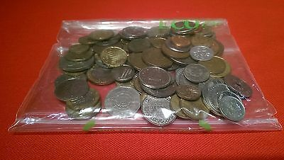 Lot of 100 Foreign Coins and Tokens