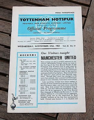 Tottenham Hotspur v Manchester United 63/64 Cup Winners Cup Programme Programme