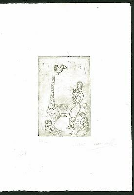 MARC CHAGALL - etching on original paper of '50s - tour eiffel