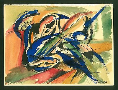 FRANZ MARC - drawing watercolor on original paper of '20s