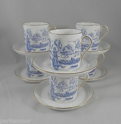 PV01768 Royal Chelsea Bone China COLONIAL SCENE Demitasse Cup & Saucer- 6 sets