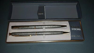 Parker Insignia Sterling Silver Cisele Ballpoint/pencil Set   With Box