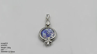A Roman Glass Fragment Set In Sterling Silver Pomegranate Pendant
