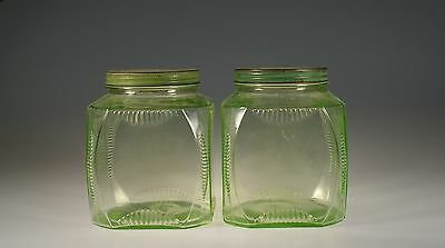 Set of 2 Vintage Hocking Glass Green Deco Glass Canisters 60 oz c.1930