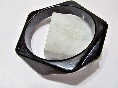 Black Wavy Small Bangle Modernist Triangular Sides Vintage Luctie