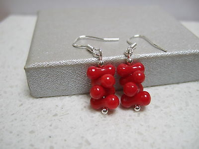 Handcrafted Red Coral Sterling  Silver Earrings