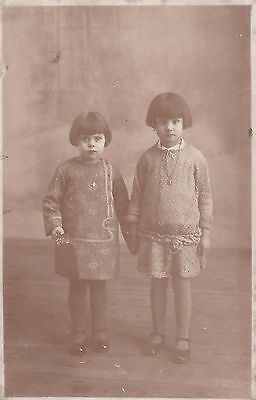 Antique RPPC - Two Little Girls, Short Bobbed Haircuts, c1920s/30s Fashion