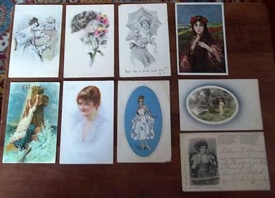 Vintage Postcards,glamourous Ladies, Some Artist Signed, Lot Of 9