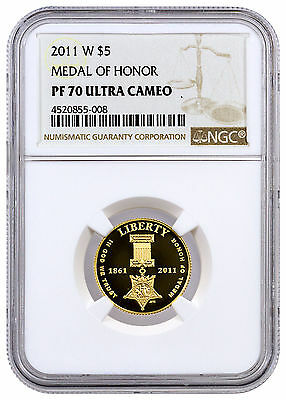 2011-W $5 Proof Gold Medal of Honor Commemorative NGC PF70 UC SKU45180