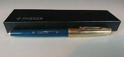 English Parker 61 Custom  Fountain Pen. Teal Blue. 1972.