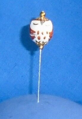 Pin Divider Wise Old Owl Bead    Brown  Hand Made & Painted Porcelain