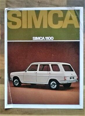 Simca 1100 Estate 1968 Double Sided Sales Leaflet