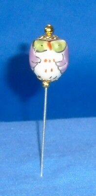 Pin Divider Wise Old Owl Bead    Dark Pink    Hand Made & Painted Porcelain