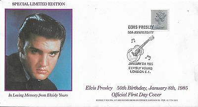 ELVIS PRESLEY FIRST DAY COVER 50th Birthday 1985 Special Handstamp