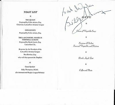 BILLY THOMPSON Ex Rugby League Referee Handsigned Menu