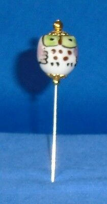 Pin Divider Wise Old Owl Bead    Pale Pink    Hand Made & Painted Porcelain