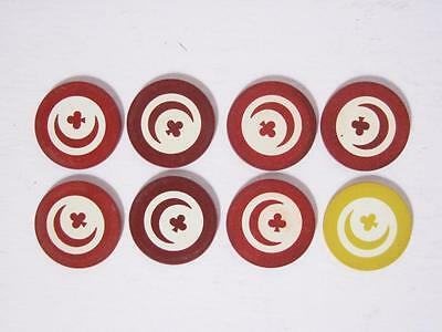 8 Vintage Paranoid Inlaid Clay Poker Chips Star + Crescent