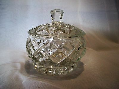 Vintage Diamond Cut Lidded Trinket Bowl