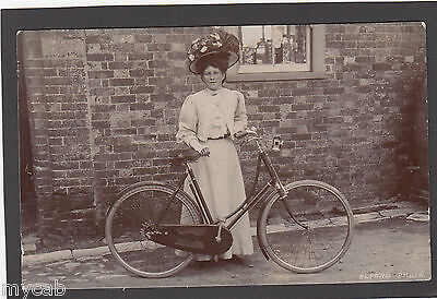 Postcard Edwardian Lady with antique bicycle Dorchester Dorset cycling RP Elford