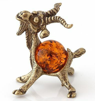Honey Baltic Amber Funny Goat Solid Brass Miniature Animal Figurine Sculpture