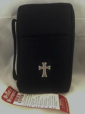 NEW With Tags - Bible Case Cover Medium Embroidered Cross  Zipper Pocket