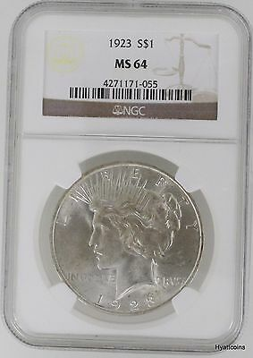 1923 Peace Silver Dollar $1 NGC MS64