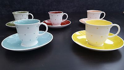 Susie Cooper Raised Spot  China Coffee Cups and Saucers