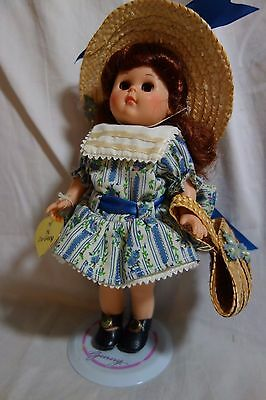 1988 Vogue Ginny-w/Stand,Blue Floral Dress,Straw Hat,Shoes,Hose,Hang Tag-VG-SALE