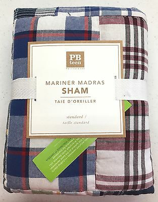 POTTERY BARN PB TEEN Mariner Madras Plaid Quilted STANDARD Sham, BLUE/RED, NEW