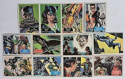 S662. VINTAGE: Lot of 12: BATMAN Trading Cards from Topps Chewing Gum (1966) [