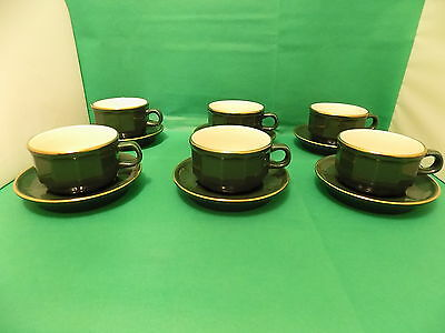 Revol France Vintage 1980's Apilco Style 6 x Large 9.5 cm Cups and 6 x Saucers