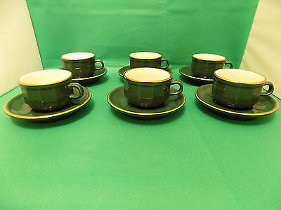 Revol France Vintage 1980's Apilco Style 6 x Coffee Cups and 6 x Saucers