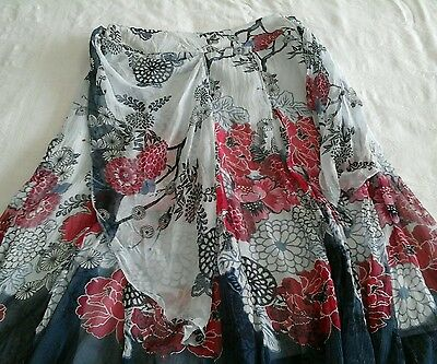 Beautiful skirt,grey,red & blue,floaty fabric,,size 12.