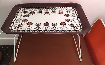 Vintage Retro Worcester Ware Tudor Brown Tray Table Folding Picnic Camping