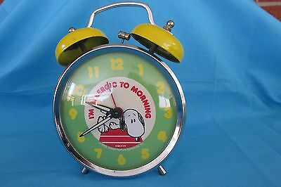 Peanuts Gang Snoopy Equity Clock Metal 80's Allergic2Mornings DoubleBell Footed