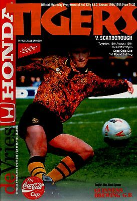 1994/95 Hull City v Scarborough, League Cup, PERFECT CONDITION
