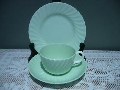 Minton England Lovely Green & White Trio - Cup Saucer Plate - Good Cond