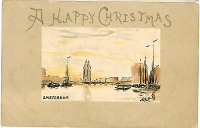 AMSTERDAM Netherlands Boats Vintage Water Colour Series PC 1905