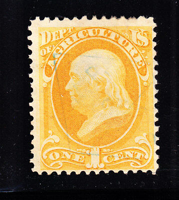 US O1 1c Agriculture Department w/ Blue Date Stamp SCV $200