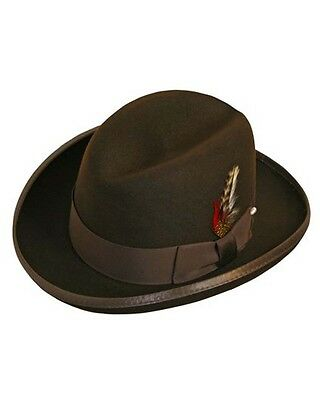 Godfather Homburg Fedora Hat in Fall Brown