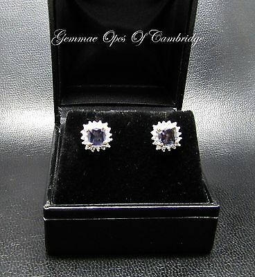 9ct Gold Iolite and Diamond Cluster Stud Earrings 1.7g