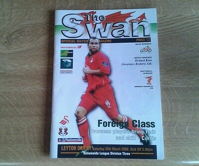 Swansea City V Leyton Orient 25Th March 2000 Division Three Swansea Champions