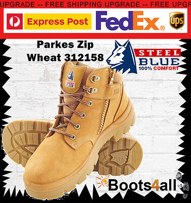 New Steel Blue Mens Work Boots Parkes Zip Lace Wheat Steel Toe Low Ankle 312158