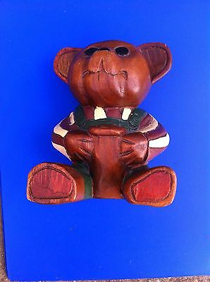 Teddy Bear With Honey Pot - Hand Carved And Coloured