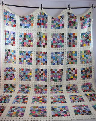 Vtg Rainbow Checker YoYo Patchwork Quilt King Size Blanket Bed Spread Cover 122""