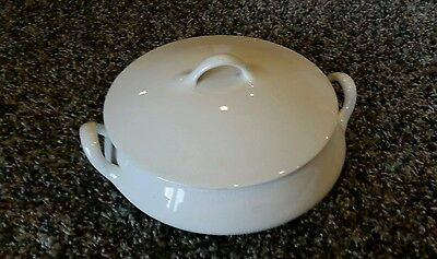 Homer laughlin vintage white soup tureen covered serving dish