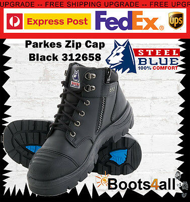 Steel Blue Work Boots Parkes 312658 Black Steel Toe Lace Up Zip Sided Bump Cap