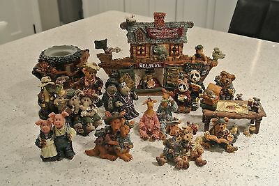 Boyds Bears Resin NOAH'S ARK SET-14 pieces (includes Stretch & Skye Longnecker)